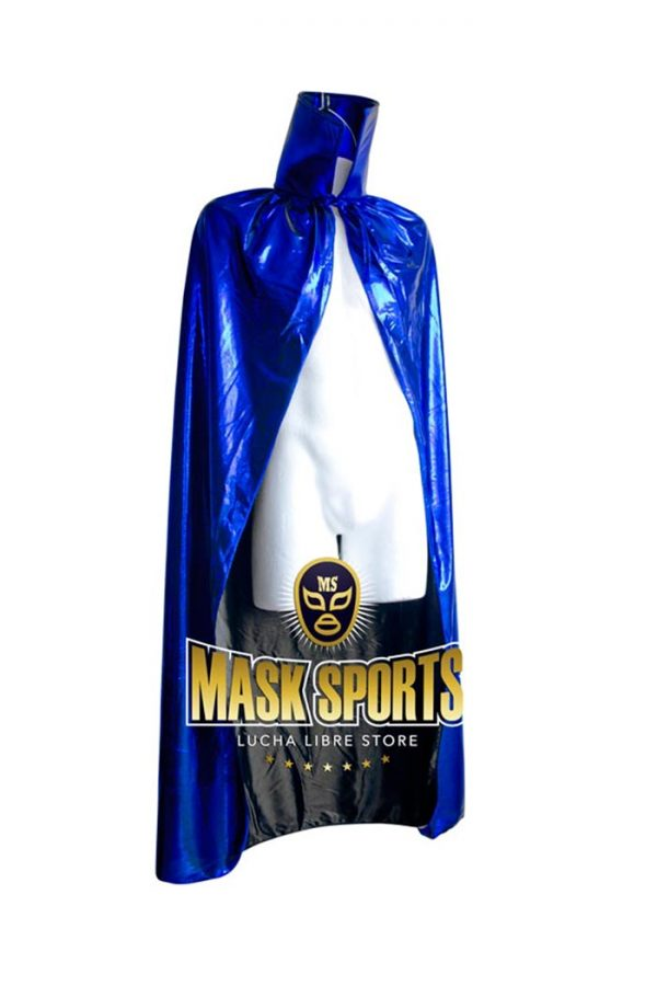 Adult 54 Lucha Libre Halloween Costume Cape Metallic Blue