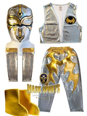 Caristico silver and gold Kid Lycra Pants & Mask Costume