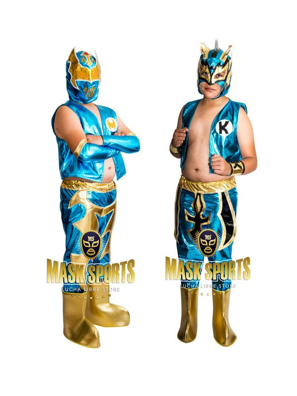 Kid Costume Combo Sin Cara and Kalisto in turquoise color - Mask Sports