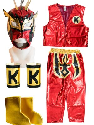 Kalisto Red Kid Costume Lycra Pants mask and vest