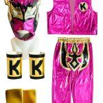 Kalisto Pink Kid Costume Lycra Pants mask and vest