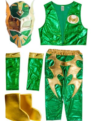 Sin Cara Green Kid Costume Lycra Pants mask and vest