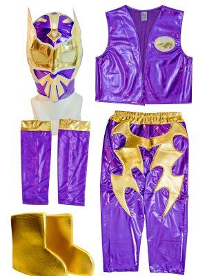 Sin Cara purple kid costume - Lycra pants mask and vest