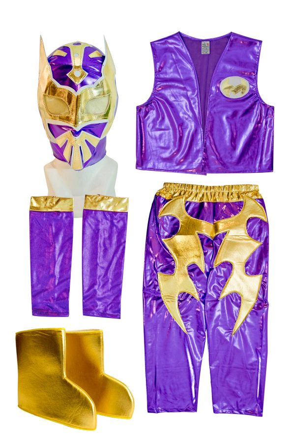 Sin Cara purple kid costume – Lycra pants mask and vest