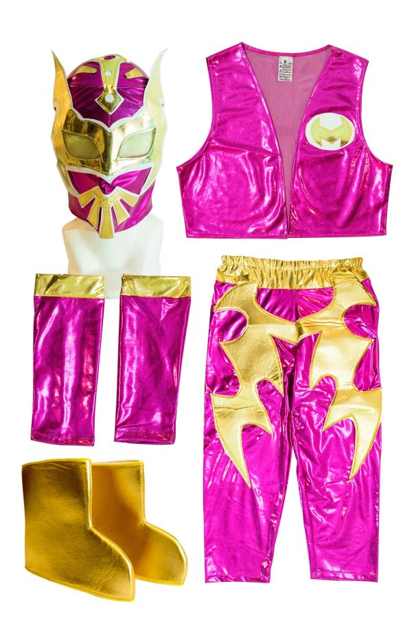 Sin Cara Pink Kid Costume - Lycra pants mask and vest