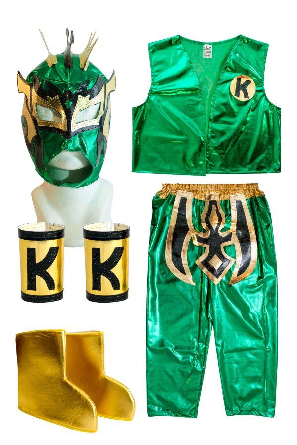 Kalisto Green Kid Costume Lycra Pants mask and vest