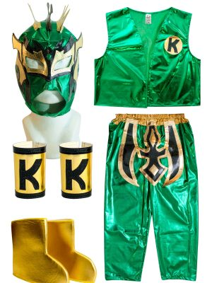 Kalisto Green Kid Costume Lycra Pants mask and vest