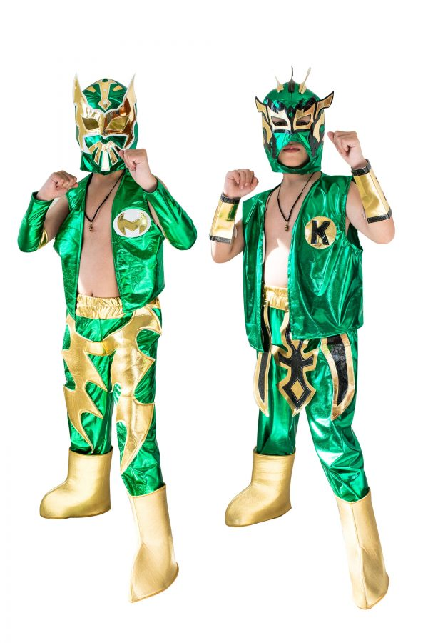 Kid Costume Combo Sin Cara and Kalisto in Green color