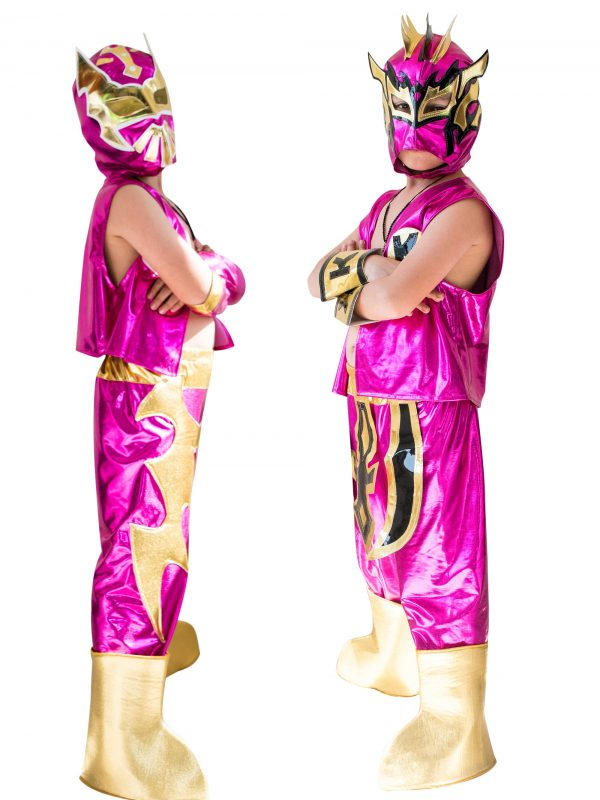 Kid Costume Combo Sin Cara and Kalisto in Pink color - Mask Sports