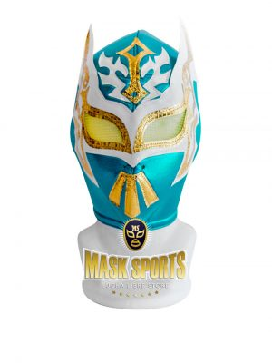 Sin Cara turquoise white and gold wrestling mask