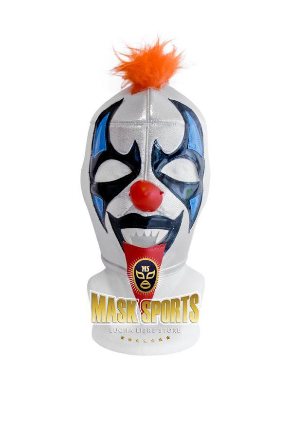 Psycho Clown wrestling mask – Silver / Black
