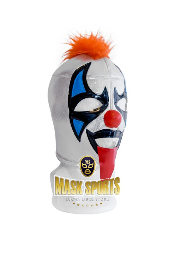 Psycho Clown wrestling mask – Silver / Black